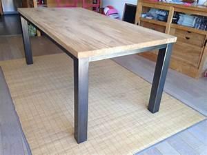 Table Haute Bois Metal : table bois sur mesure ~ Teatrodelosmanantiales.com Idées de Décoration