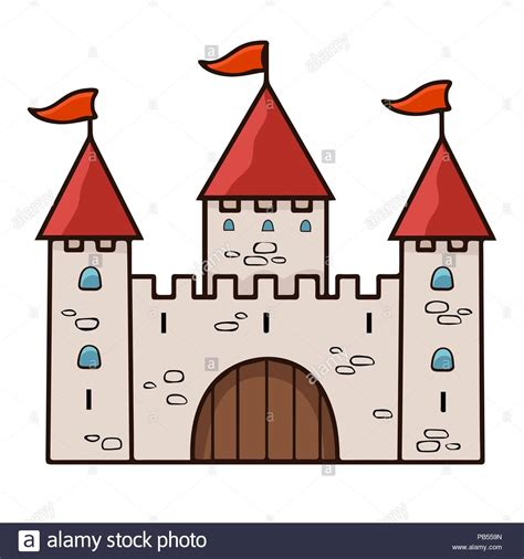 castle cartoon drawing vector illustration stone beige