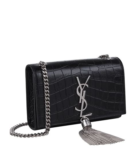 monogram medium croc embossed shoulder bag silver ysl