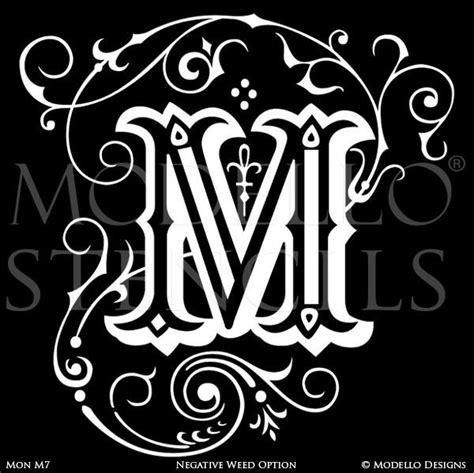 monogram wall art custom lettering stencils  modello