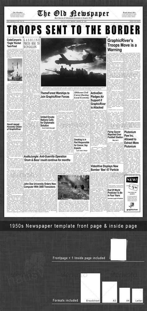 newspaper template 1950s newspaper template front page inside page by hansv graphicriver