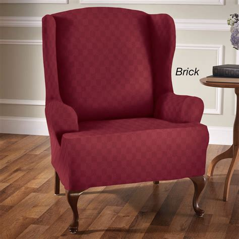 wing chair slipcovers newport stretch wing chair slipcovers
