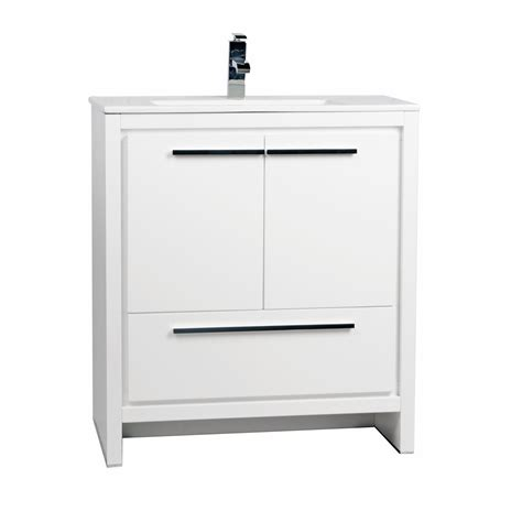 Buy Cbi Enna 30 Inch Glossy White Modern Bathroom Vanity