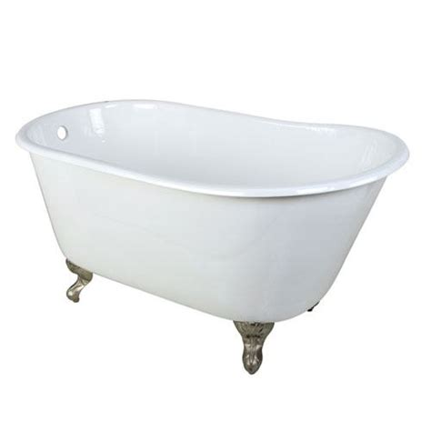 small cast iron white slipper clawfoot bathtub  satin nickel feet ebay