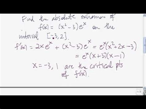 finding absolute extrema   closed interval youtube