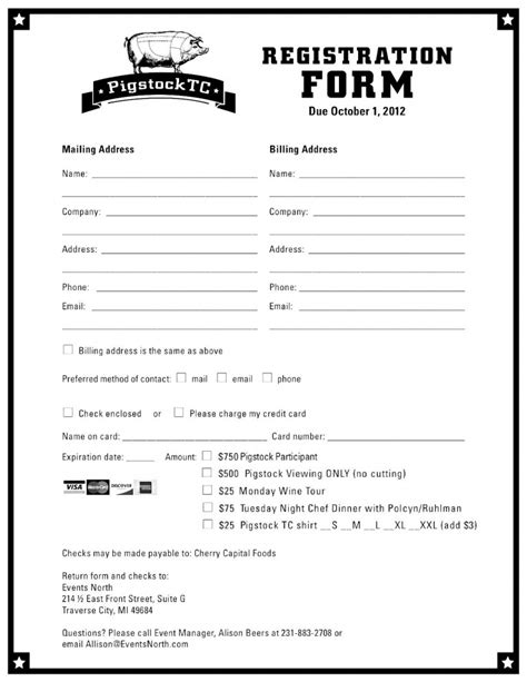 registration form school registration form template