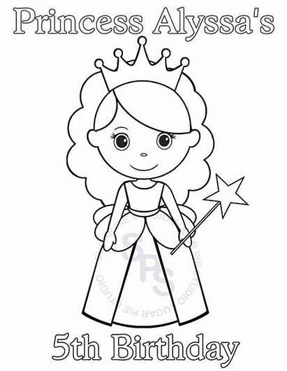 Princess Birthday Printable Coloring Happy Drawings Personalized