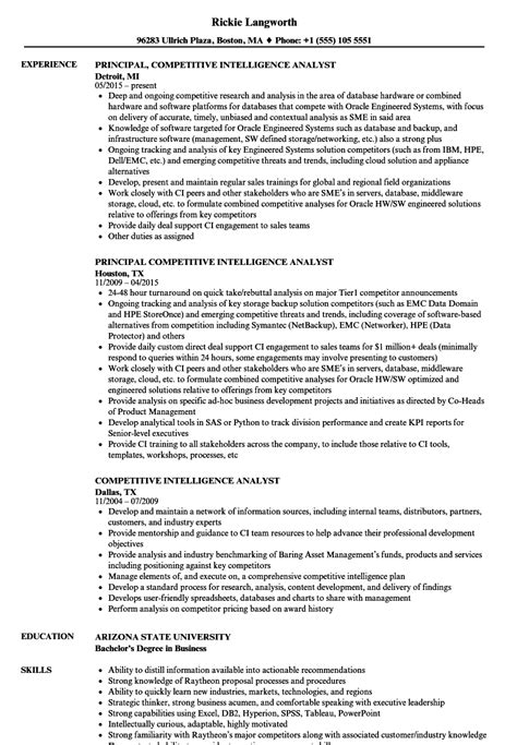 Intelligence Analyst Resume by Competitive Intelligence Analyst Resume Sles Velvet