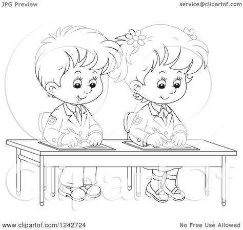 students writing clipart black and white clipart of black and white school children writing at