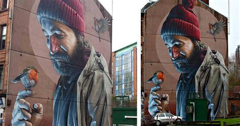 photorealistic mural  smug   streets  glasgow