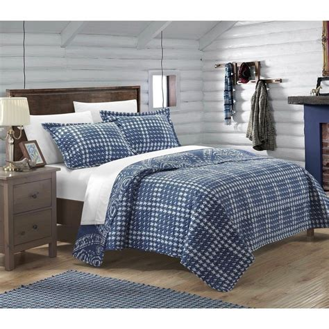 Navy Blue Coverlet by King Navy Blue Scroll Houndstooth 3 Pc Quilt