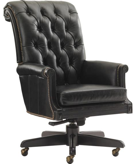 breckenridge cascade desk chair in rich black leather