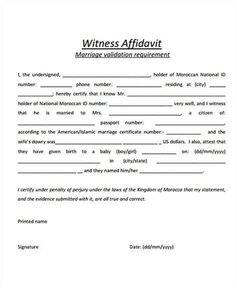 sample affidavit forms