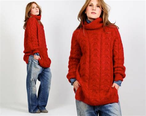 Vintage Mohair Red Chunky Knit Oversized By Tinroofvintage On Etsy
