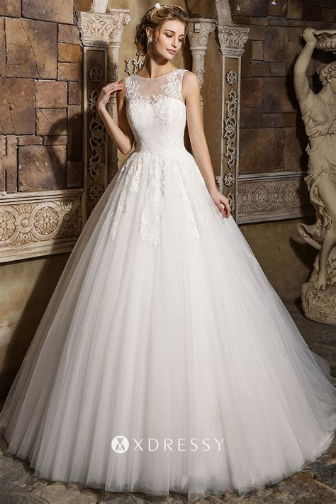 Illusion Sweetheart Pleated Tulle Bridal Ball Gown - Xdressy