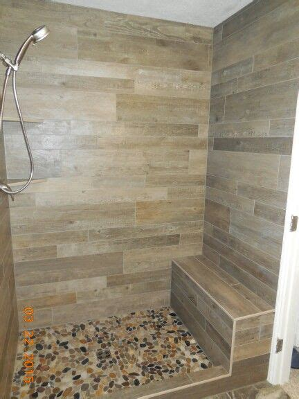 wood plank porcelain tile shower with width bench 2