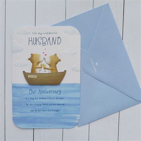 One year later would be the first anniversary of that event. Anniversary Card Husband - Garlanna Greeting Cards