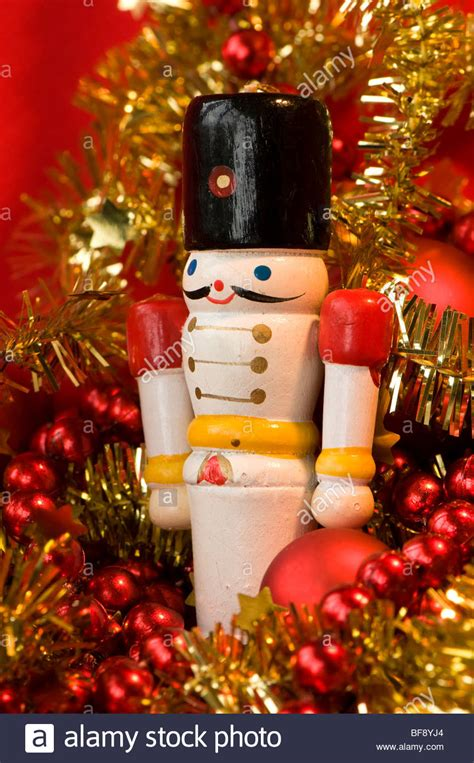 white wooden toy soldier  christmas decorations stock