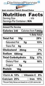 Calcium in lean crusine French Bread Delux Nutrition
