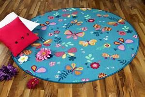 kinder spiel teppich schmetterling turkis rund teppiche With balkon teppich mit esprit tapete schmetterling