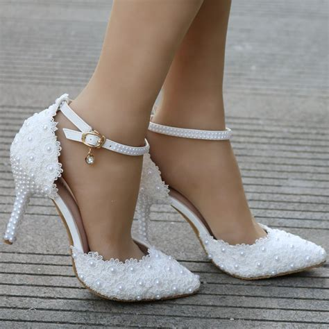 white lace wedding shoes elegant heels thin heels pointed