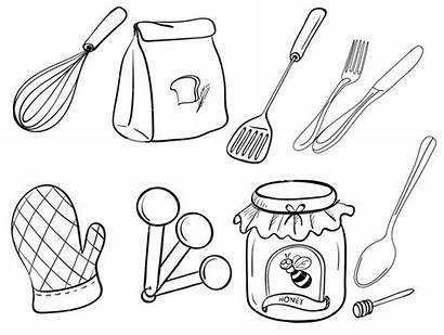 Coloring Utensils Preparation Pages Kitchen Utensil Sheets