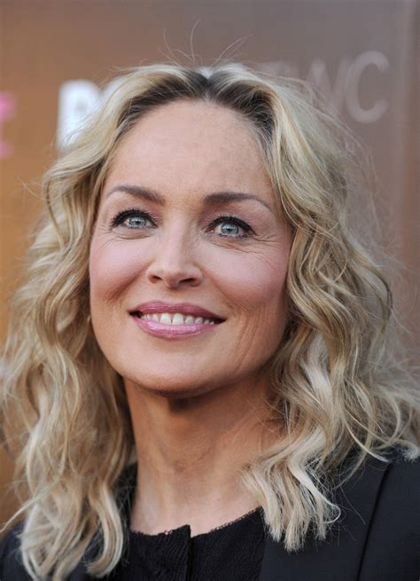 sharon stones textured waves medium length hairstyles