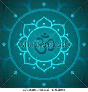 Vector Om Symbol with Lotus Flower Illustration - stock vector