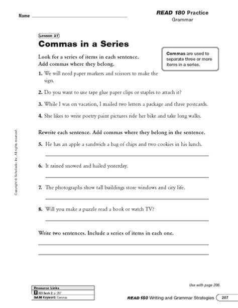 59 Comma Rules Worksheet, 3 Free Esl Punctuation Commas Worksheets For Pre Artgumboorg