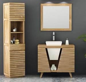 meuble de salle de bain teck oceane 90 cm 2 portes et 1 With porte d entrée alu avec meuble vasque salle de bain teck