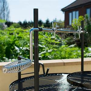 outdoor, round, bbq, grill, with, rotisserie, and, tool, set