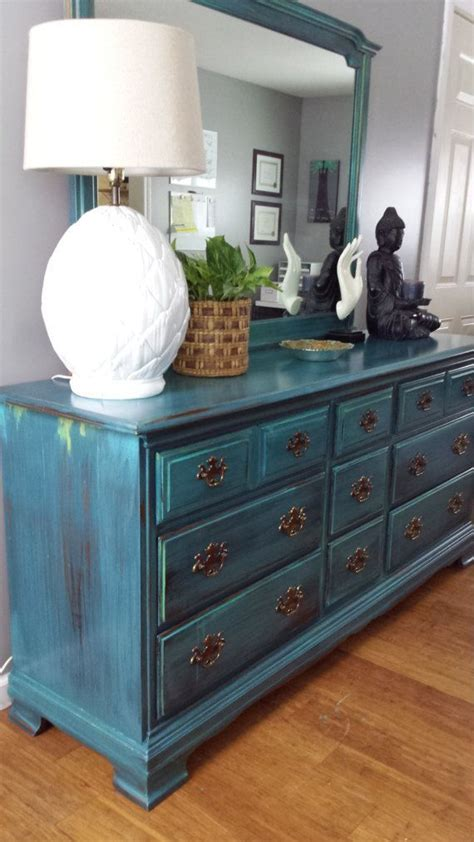 bureau turquoise painted teal dresser patina green blue turquoise