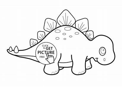 Coloring Stegosaurus Cartoon Dinosaur Pages Printable