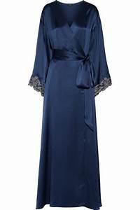 lyst la perla maison lace trimmed silk satin robe in blue With robe la perla