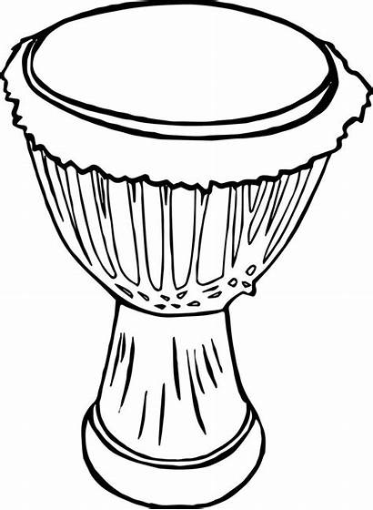 Drum Coloring Clipart African Drawing Pages Drums