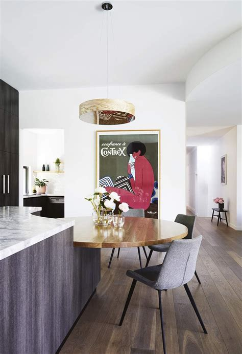 Simply slide the table back in when not in use to maximize your floor space. Kitchen Extension in an Edwardian Home in 2020 | Circular dining table, Dining table with bench ...