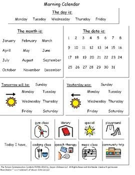 visual calendar worksheets for students with autism or