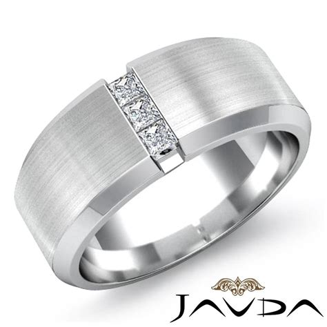 3 stone mens half wedding band princess diamond bezel ring platinum 0 25ct ebay