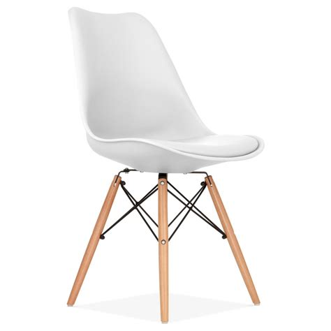 chaises design blanche white pad dining chair with dsw style wood legs cult uk