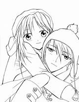 Coloring Anime Pages Sad Couple Printable Getcolorings Colorin sketch template