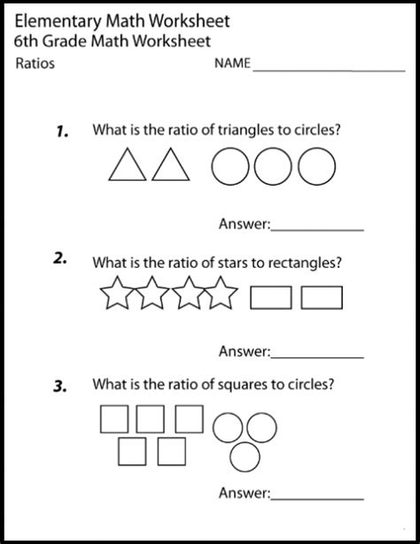 Year Sixth6th Grade Math Worksheets Printable