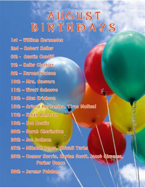 August Birthdays | Our Savior Lutheran School