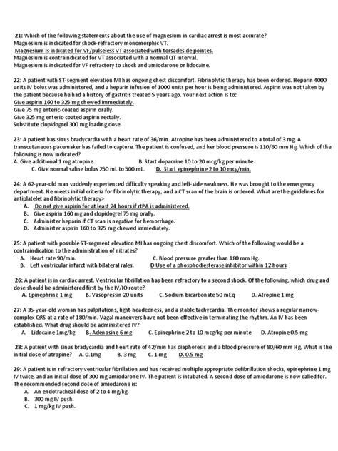 Test Blsd - acls post test cardiac arrest cardiopulmonary