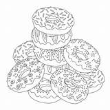 Donut Coloring Donuts Pile sketch template