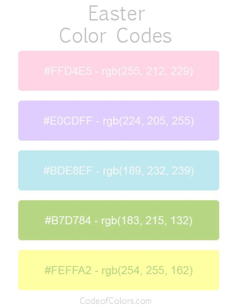 easter color palette hex and rgb color codes