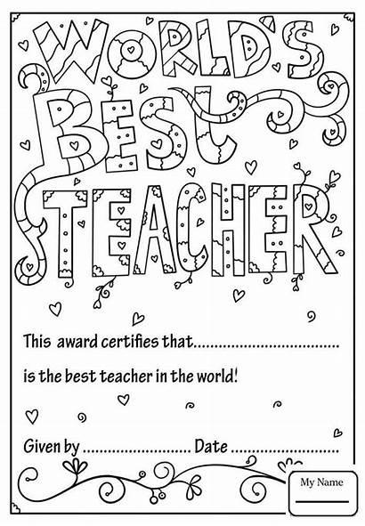 Teacher Coloring Appreciation Diploma Printable Week Sheets