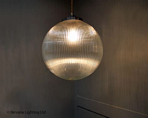 Cabaret Holophane Glass Globe Pendant Light