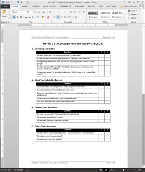 stakeholder analysis review checklist template