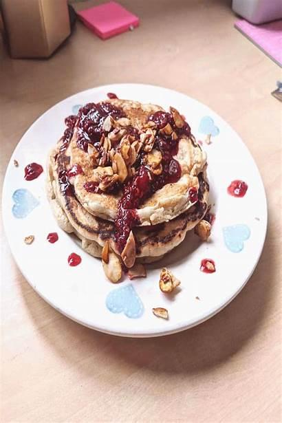 Pancakes Buttermilk Almond Rapsberry Topped Vegan Pinheir
