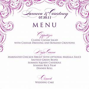 8 wedding menu template procedure template sample With wedding menu samples templates